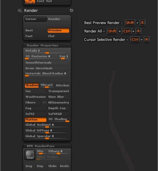 ZBrushのメニューとキーボードショートカットシート
