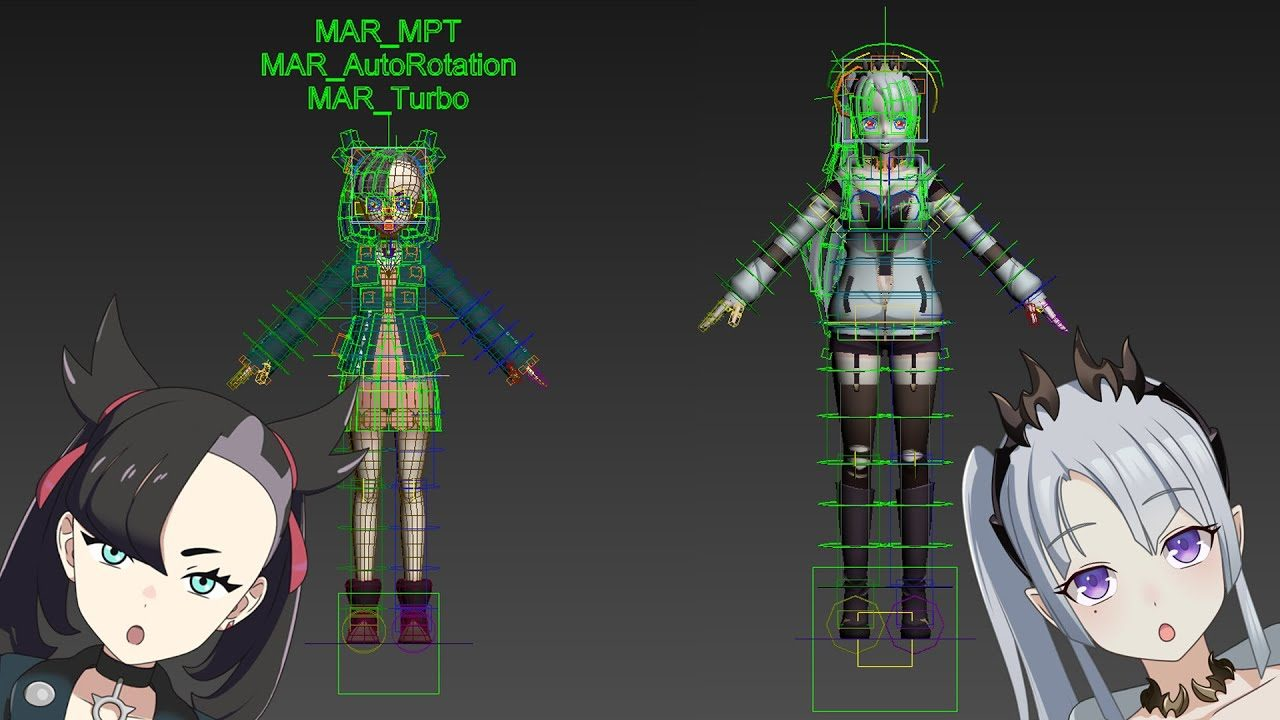 Rig Introduction 2020年【3ds Max】マリーRIG、蒼月エリRIG