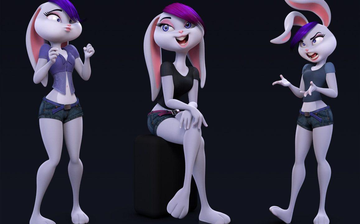 バニーガール3Dモデルリグ