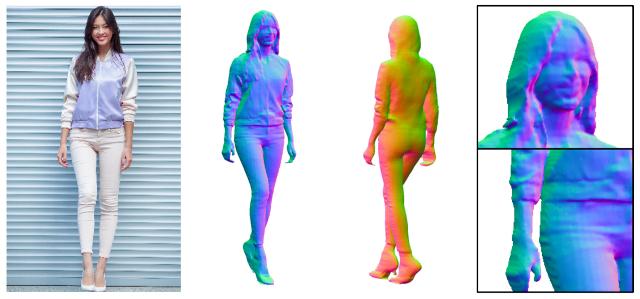 PIFuHD:高解像度3D人間のデジタル化のためのマルチレベルピクセルアライン暗黙関数