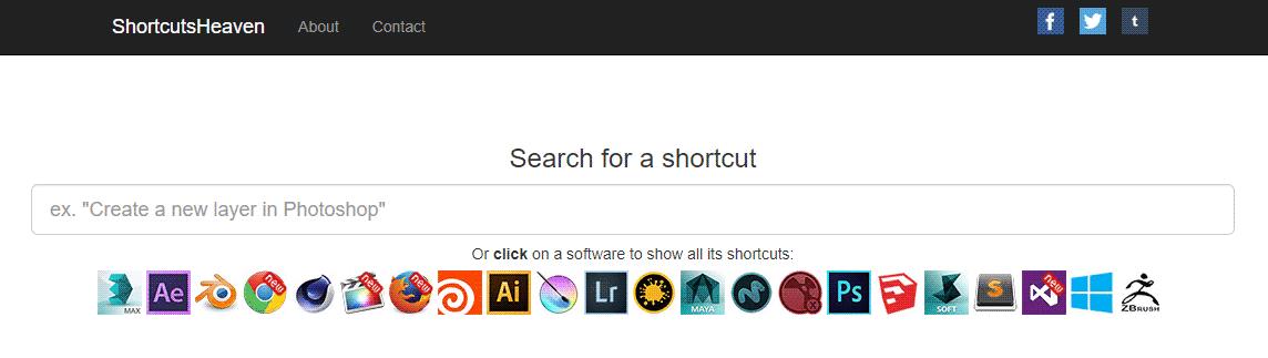 グラフィックソフトのショートカット検索サイト「ShortcutsHeaven」