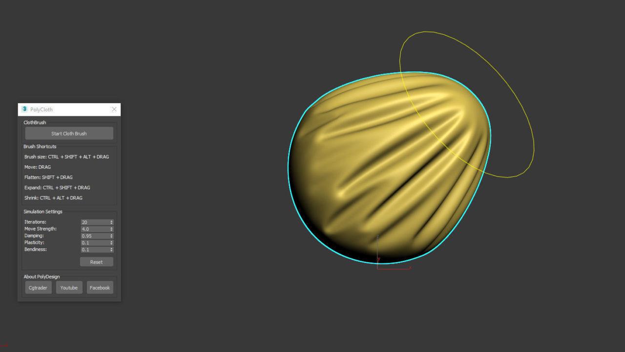 3dsMax用のクロスブラシプラグイン「PolyCloth」